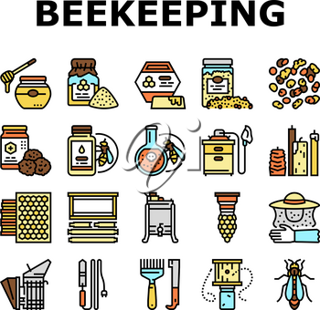 Beekeeping Profession Occupation Icons Set Vector. Bee Honey Bottle And Pollen Container, Royal Jelly And Beeswax Candles, Hand Tools And Smoker Beekeeping Business Line. Color Illustrations