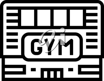 gym building line icon vector. gym building sign. isolated contour symbol black illustration