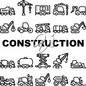 Construction Vehicle Collection Icons Set Vector. Construction Crane And Bulldozer, Wheel And Skid Loader, Scissor Lift And Concrete Mixer Black Contour Illustrations