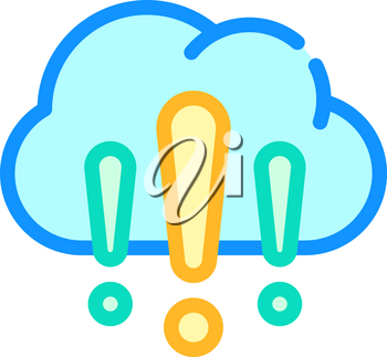 cloud exclamation marks color icon vector. cloud exclamation marks sign. isolated symbol illustration
