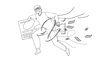 Thief Man Stealing Money From Credit Card Black Line Pencil Drawing Vector. Thief Running With Steal Finance, Bandit Burglar Boy Theft. Character Gangster Financial Criminal, Illegal Occupation Illustration