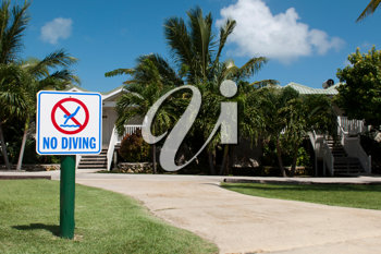 Royalty Free Photo of a No Diving Sign