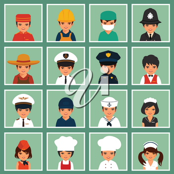 Young kids boys and girls of different professions, vector illustration