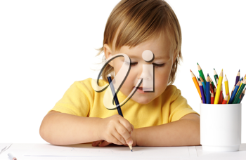 Royalty Free Photo of a Child Colouring