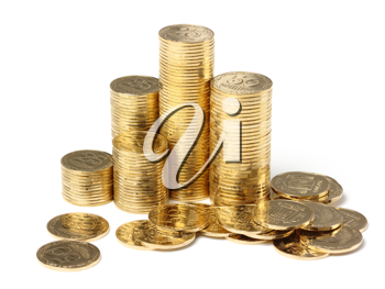 Royalty Free Photo of Stacks of Gold Coins
