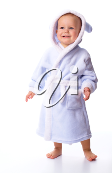 Royalty Free Photo of a Baby in a Bathrobe