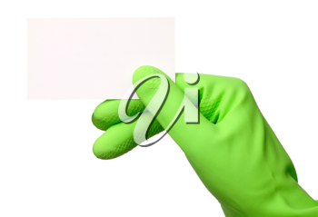 Royalty Free Photo of a Hand in a Rubber Glove Holding a Business Card