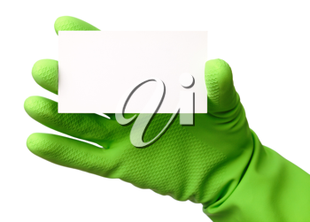 Royalty Free Photo of a Hand in a Rubber Glove Holding a Blank Card