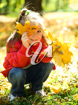 Royalty Free Photo of a Little Girl Sitting in Autumn Leaves