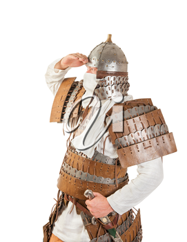 medieval warrior man wearing in ancient armor on white