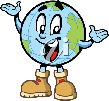 Royalty Free Clipart Image of a Globe in Hiking Books