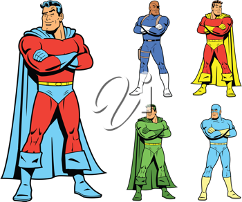Royalty Free Clipart Image of a Set of Superheroes