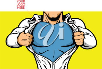 Royalty Free Clipart Image of a Comic Book Hero Opening His Shirt