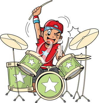 Royalty Free Clipart Image of a Boy Playing Drums