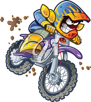 Royalty Free Clipart Image of a Dirt Bike Rider
