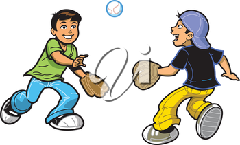 Royalty Free Clipart Image of Two Boys Playing Catch