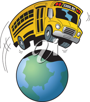 Royalty Free Clipart Image of a School Bus Over a Globe