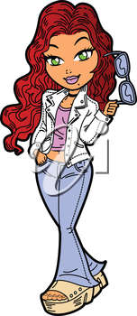 Royalty Free Clipart Image of a Girl Holding Sunglasses