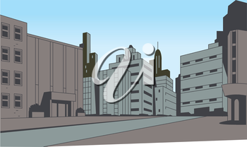 Royalty Free Clipart Image of a Cartoon City Landscape