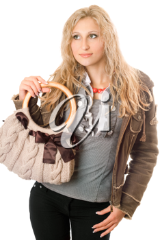 Royalty Free Photo of a Woman With a Handbag