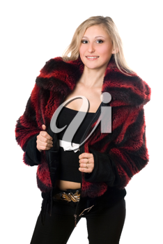Royalty Free Photo of a Woman in a Fur Jacket