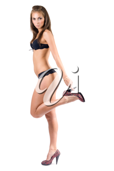 Royalty Free Photo of a Woman in Underwear and Heels