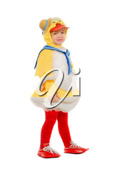 Little boy dressed as a duck. Isolated
