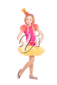 Attractive little girl wearing like a candy. Isolated on white