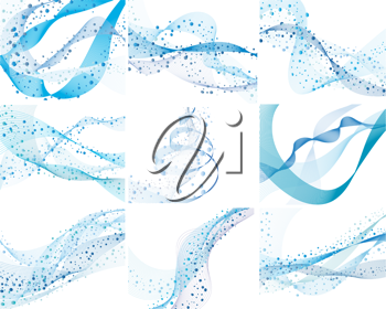 Royalty Free Clipart Image of a Set of Nine Abstract Water Background