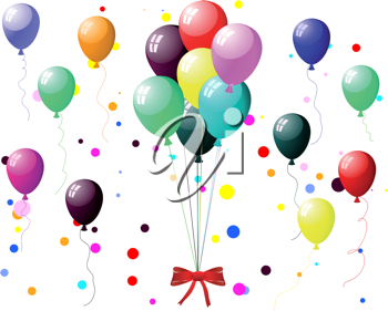 Beautiful colour balloon in the air. Vector illustration.