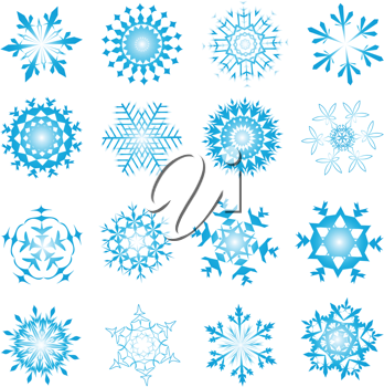 Set of winter frozen snowflakes. Fully editable EPS 8 vector version.