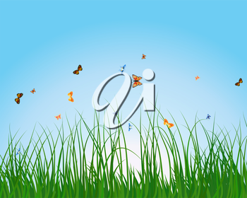 Summer meadow background with tulips. EPS 10 vector illustration with transparency and meshes.