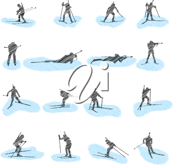 Set of biathlon grunge silhouettes. Fully editable EPS 10 vector illustration.