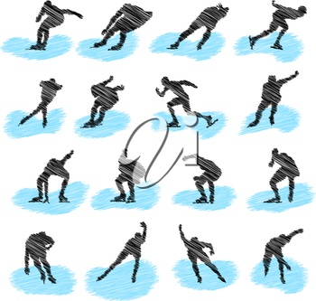 Set of ice-skating athlete grunge silhouettes. Fully editable EPS 10 vector illustration.