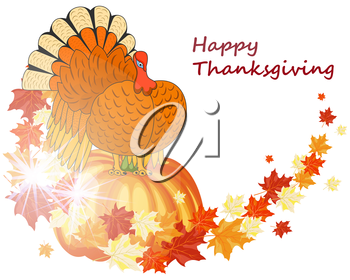 Thanksgiving Day background with maple leaves. All objects are separated. Vector illustration with transparency. Eps 10.