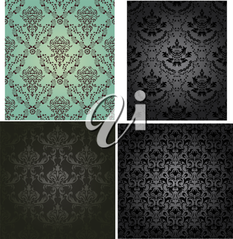 Damask seamless vector pattern set.  For easy making seamless pattern just drag all group into swatches bar, and use it for filling any contours.