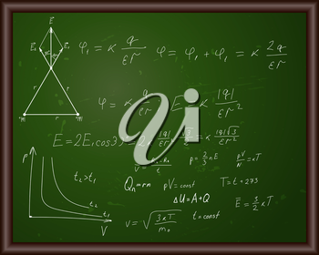Blackboard with physical formulas. Eps 10 vector illustration with transparency.
