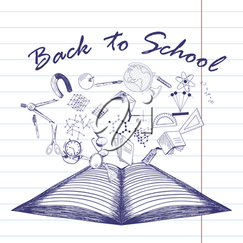 Doodle drawn open notebook with the flying off education symbols and Back to School title.