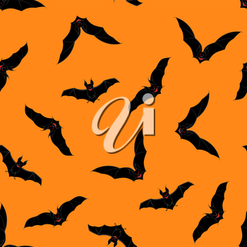 Halloween Holiday Seamless Pattern With Bats Over Orange Background for Creating Halloween Designs.  Vector illustration.