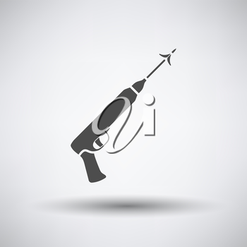 Fishing icon with speargun over gray background. Vector illustration.
