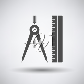 Compasses and scale icon on gray background with round shadow. Vector illustration.