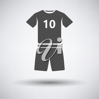 Soccer uniform icon on gray background with round shadow. Vector illustration.