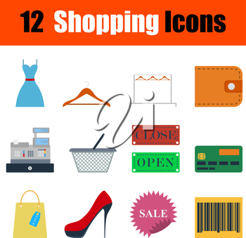 Flat design shopping icon set in ui colors. Vector illustration.