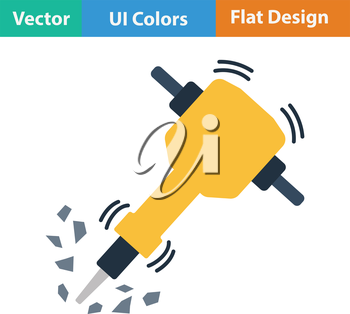 Flat design icon of Construction jackhammer in ui colors. Vector illustration.
