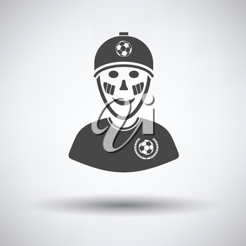 Football fan with painted face by italian flags icon on gray background, round shadow. Vector illustration.
