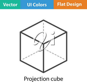Cube with projection icon. Flat color design. Vector illustration.