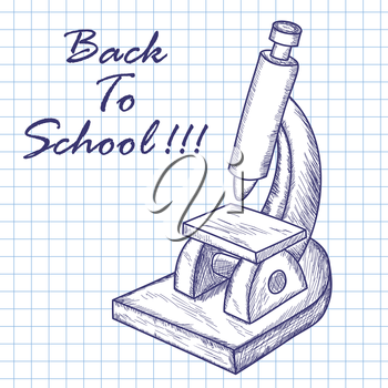 School microscope.Doodle sketch on checkered paper background. Vector illustration.