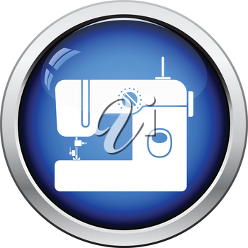 Modern sewing machine icon. Glossy button design. Vector illustration.
