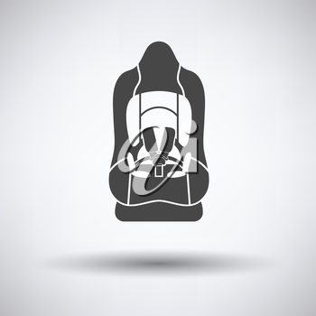 Baby car seat icon on gray background, round shadow. Vector illustration.