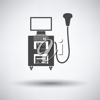 Ultrasound diagnostic machine icon on gray background, round shadow. Vector illustration.